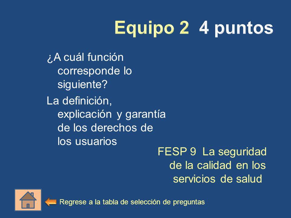 ¿A cuál función corresponde lo siguiente? La definición, explicación y garantía de los derechos de los usuarios FESP 9 La seguridad de la calidad en l