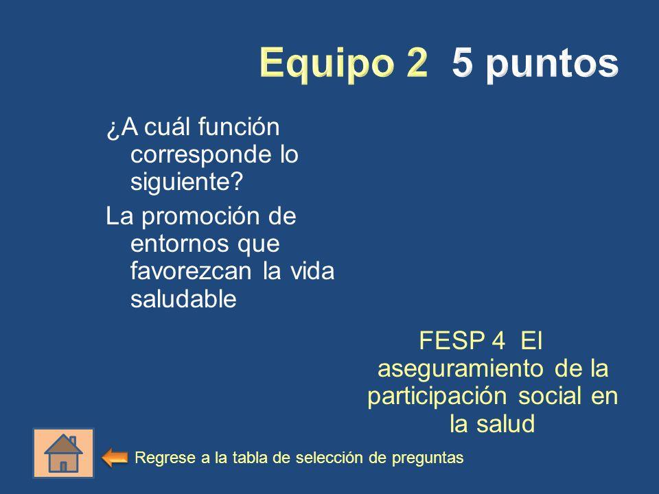 ¿A cuál función corresponde lo siguiente? La promoción de entornos que favorezcan la vida saludable FESP 4 El aseguramiento de la participación social