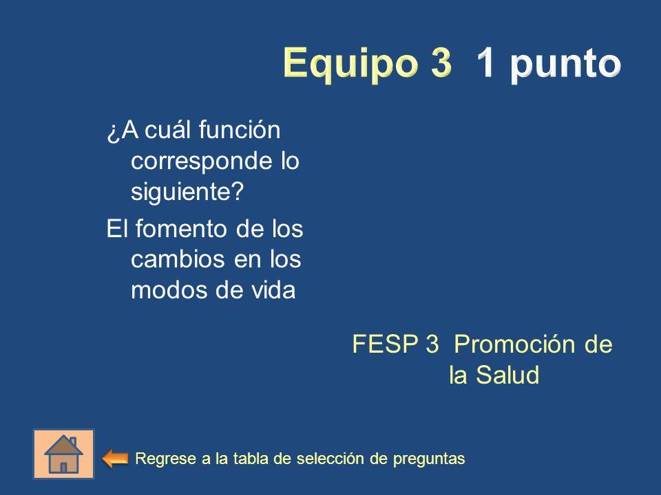 ¿A cuál función corresponde lo siguiente? El fomento de los cambios en los modos de vida FESP 3 Promoción de la Salud Regrese a la tabla de selección