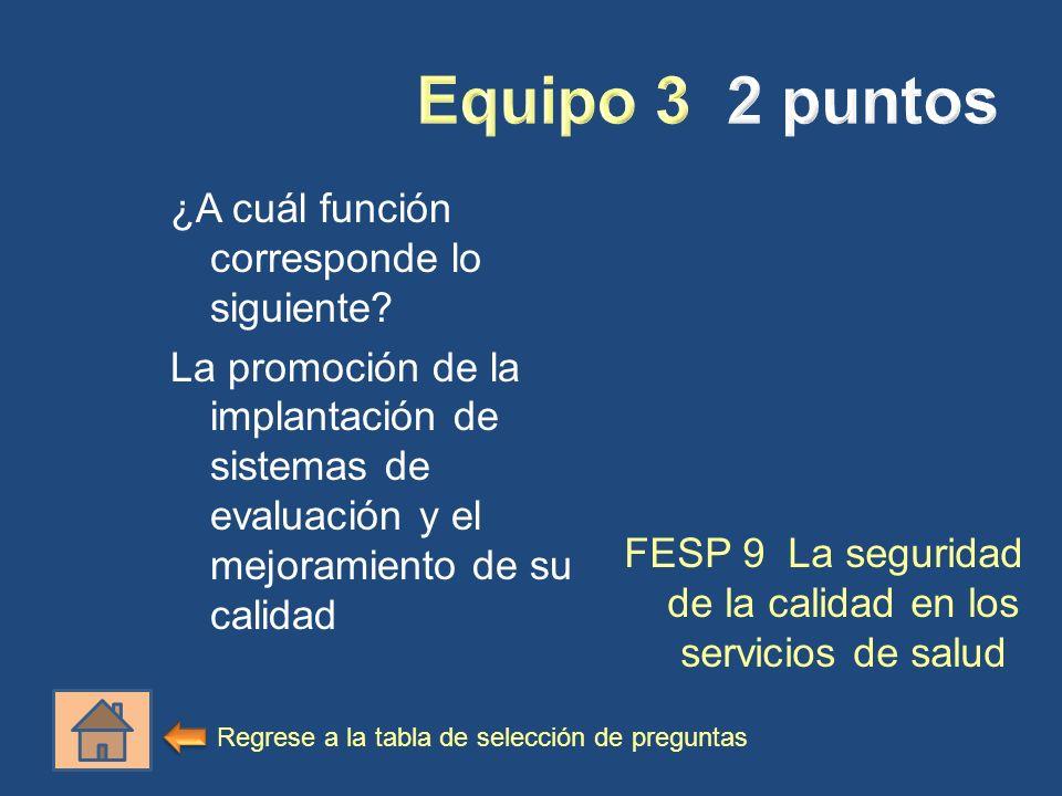 ¿A cuál función corresponde lo siguiente? La promoción de la implantación de sistemas de evaluación y el mejoramiento de su calidad FESP 9 La segurida