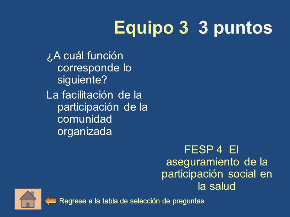 ¿A cuál función corresponde lo siguiente? La facilitación de la participación de la comunidad organizada FESP 4 El aseguramiento de la participación s