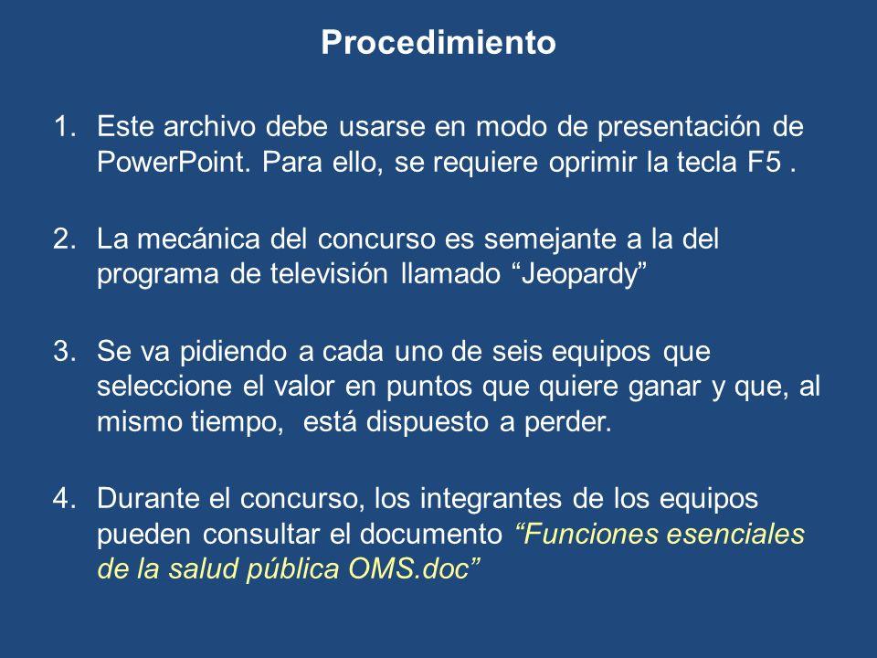 Procedimiento 1.Este archivo debe usarse en modo de presentación de PowerPoint. Para ello, se requiere oprimir la tecla F5. 2.La mecánica del concurso