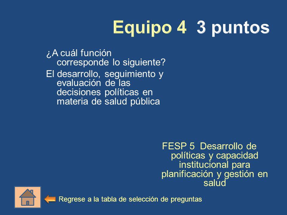 ¿A cuál función corresponde lo siguiente? El desarrollo, seguimiento y evaluación de las decisiones políticas en materia de salud pública FESP 5 Desar