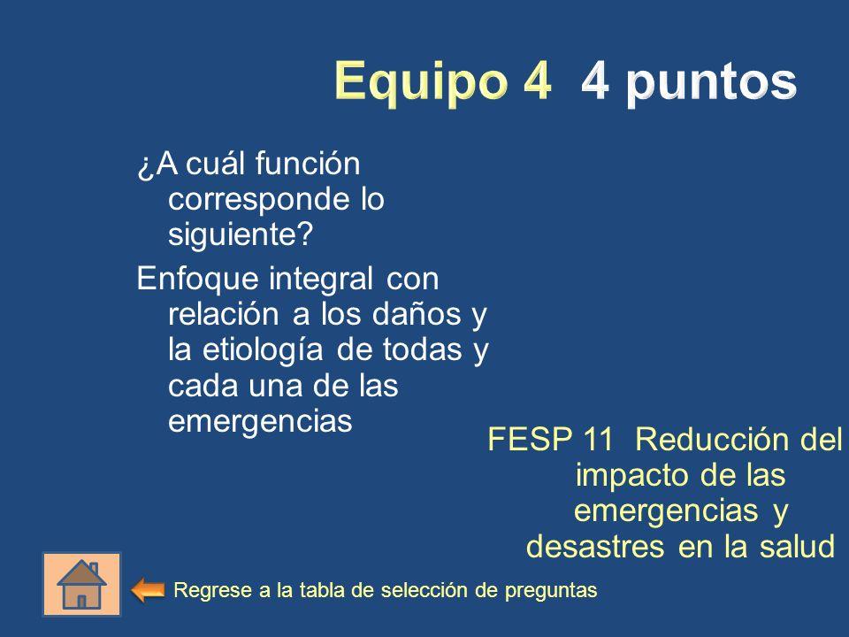 ¿A cuál función corresponde lo siguiente? Enfoque integral con relación a los daños y la etiología de todas y cada una de las emergencias FESP 11 Redu