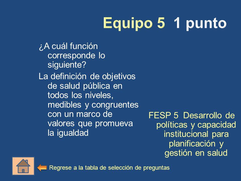 ¿A cuál función corresponde lo siguiente? La definición de objetivos de salud pública en todos los niveles, medibles y congruentes con un marco de val