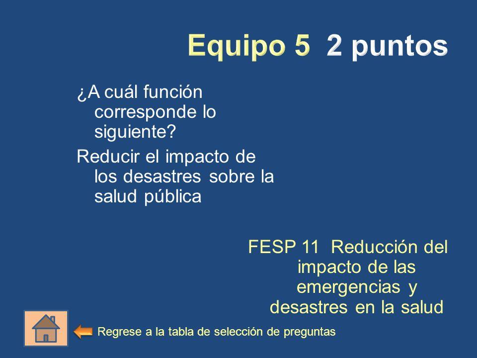 ¿A cuál función corresponde lo siguiente? Reducir el impacto de los desastres sobre la salud pública FESP 11 Reducción del impacto de las emergencias