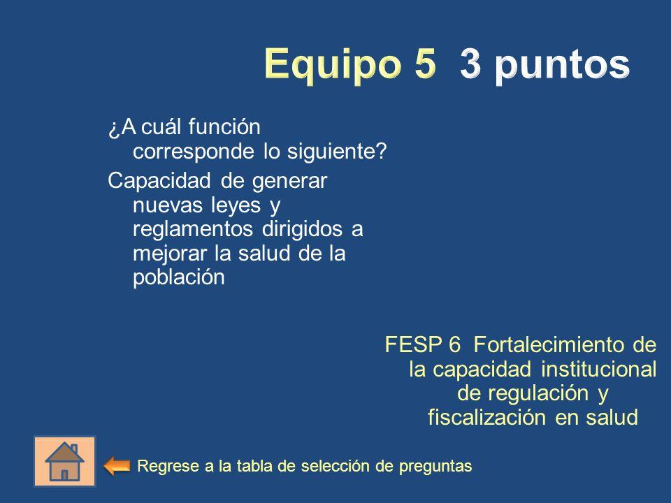 ¿A cuál función corresponde lo siguiente? Capacidad de generar nuevas leyes y reglamentos dirigidos a mejorar la salud de la población FESP 6 Fortalec