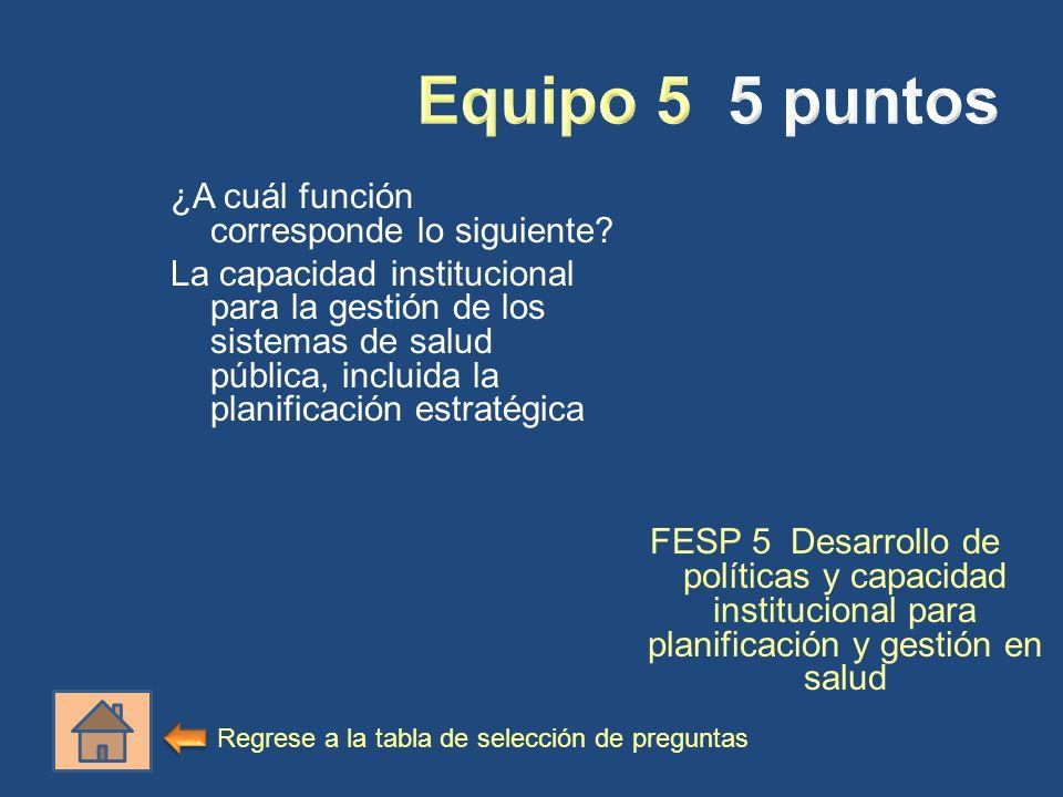 ¿A cuál función corresponde lo siguiente? La capacidad institucional para la gestión de los sistemas de salud pública, incluida la planificación estra