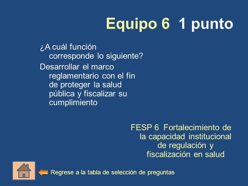¿A cuál función corresponde lo siguiente? Desarrollar el marco reglamentario con el fin de proteger la salud pública y fiscalizar su cumplimiento FESP