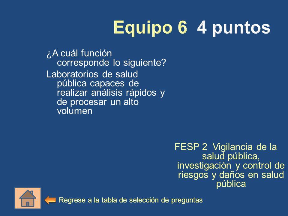 ¿A cuál función corresponde lo siguiente? Laboratorios de salud pública capaces de realizar análisis rápidos y de procesar un alto volumen FESP 2 Vigi