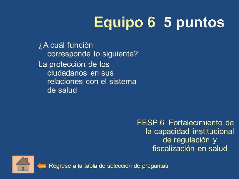 ¿A cuál función corresponde lo siguiente? La protección de los ciudadanos en sus relaciones con el sistema de salud FESP 6 Fortalecimiento de la capac