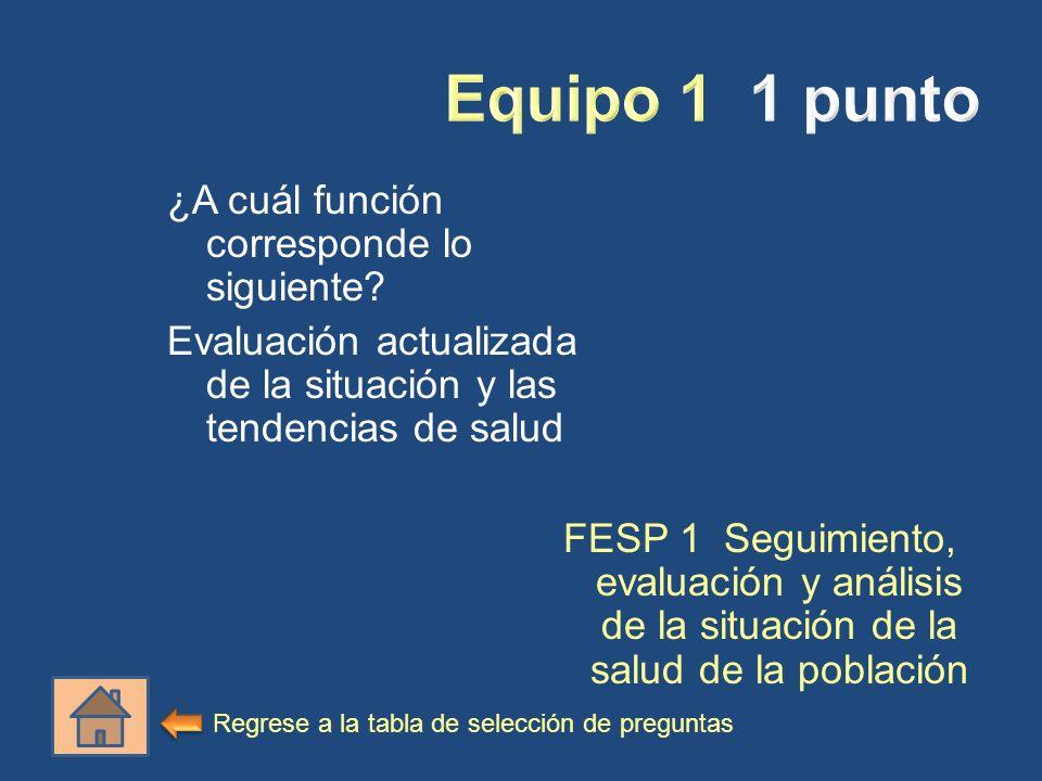 ¿A cuál función corresponde lo siguiente? Evaluación actualizada de la situación y las tendencias de salud FESP 1 Seguimiento, evaluación y análisis d