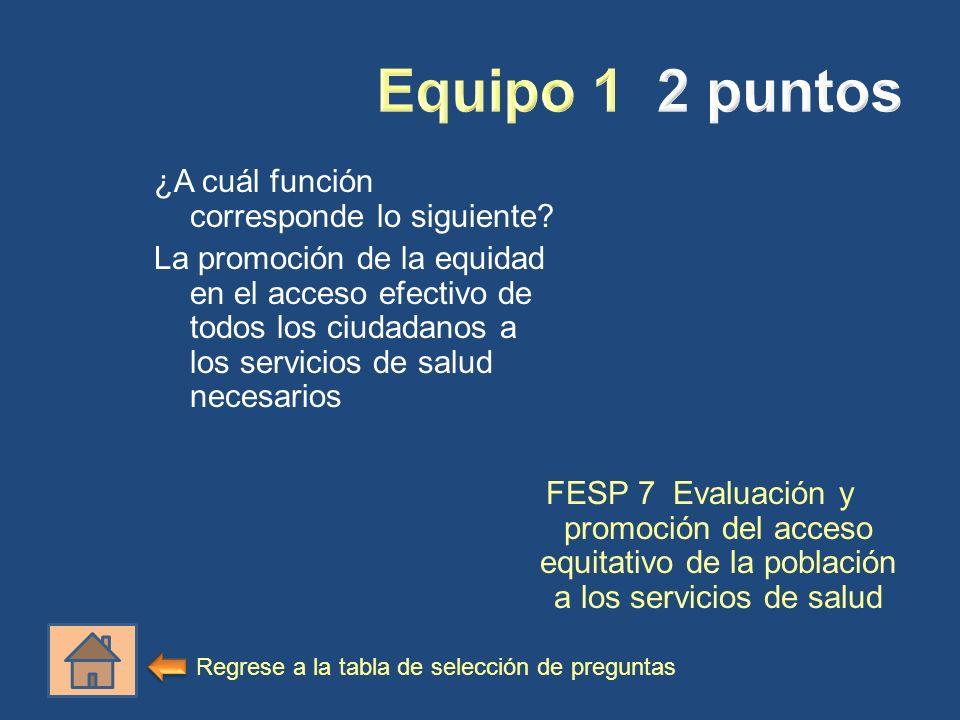 ¿A cuál función corresponde lo siguiente? La promoción de la equidad en el acceso efectivo de todos los ciudadanos a los servicios de salud necesarios