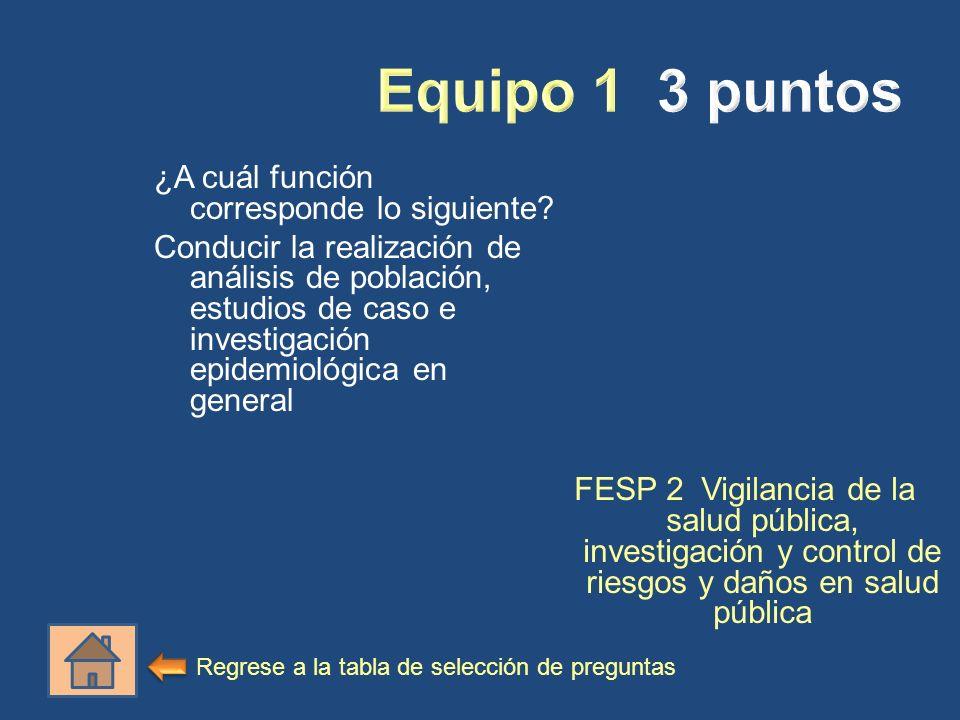 ¿A cuál función corresponde lo siguiente? Conducir la realización de análisis de población, estudios de caso e investigación epidemiológica en general
