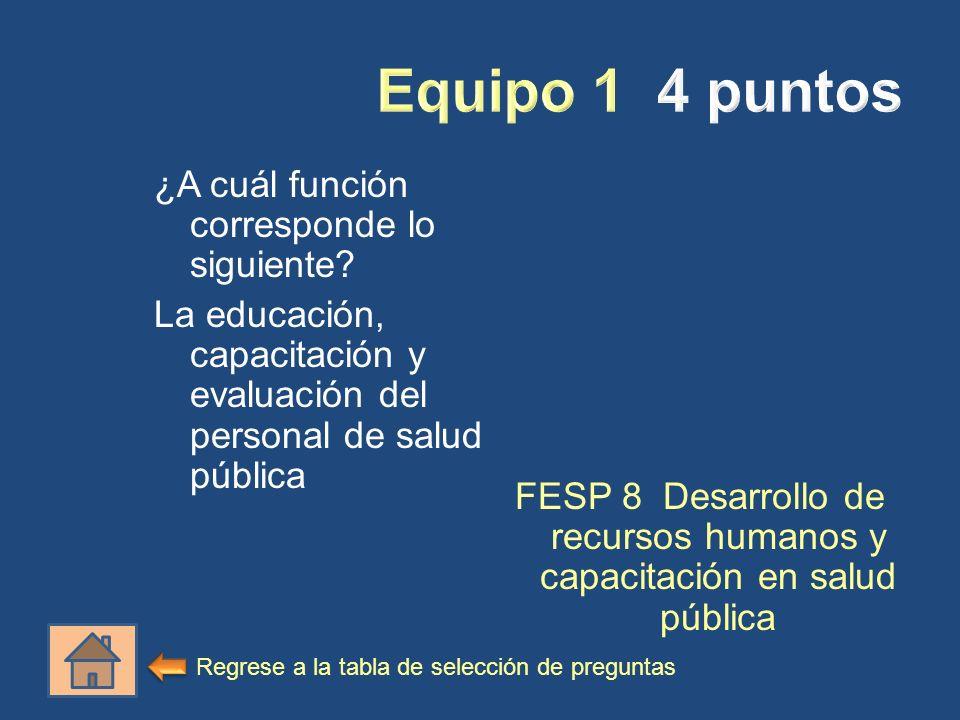 ¿A cuál función corresponde lo siguiente? La educación, capacitación y evaluación del personal de salud pública FESP 8 Desarrollo de recursos humanos