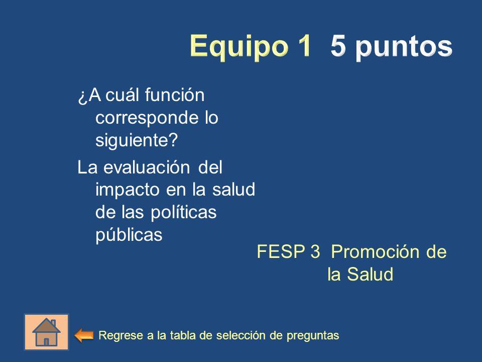 ¿A cuál función corresponde lo siguiente? La evaluación del impacto en la salud de las políticas públicas FESP 3 Promoción de la Salud Regrese a la ta