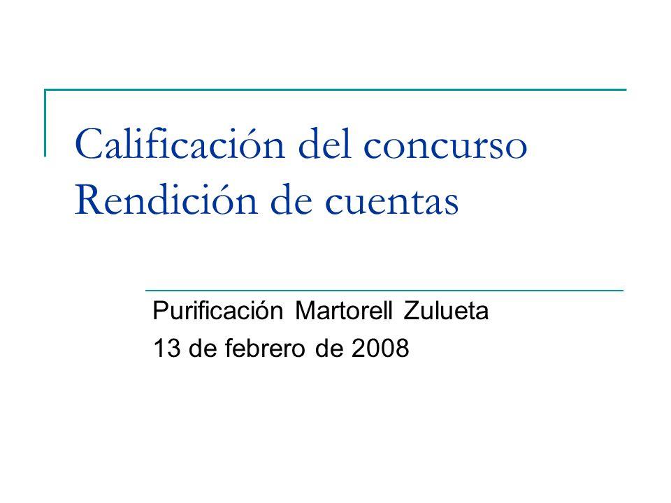 Calificación del concurso Rendición de cuentas Purificación Martorell Zulueta 13 de febrero de 2008