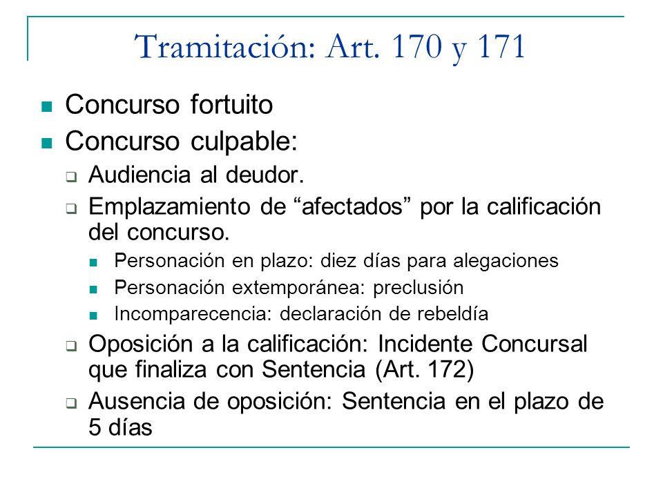Tramitación: Art. 170 y 171 Concurso fortuito Concurso culpable: Audiencia al deudor. Emplazamiento de afectados por la calificación del concurso. Per