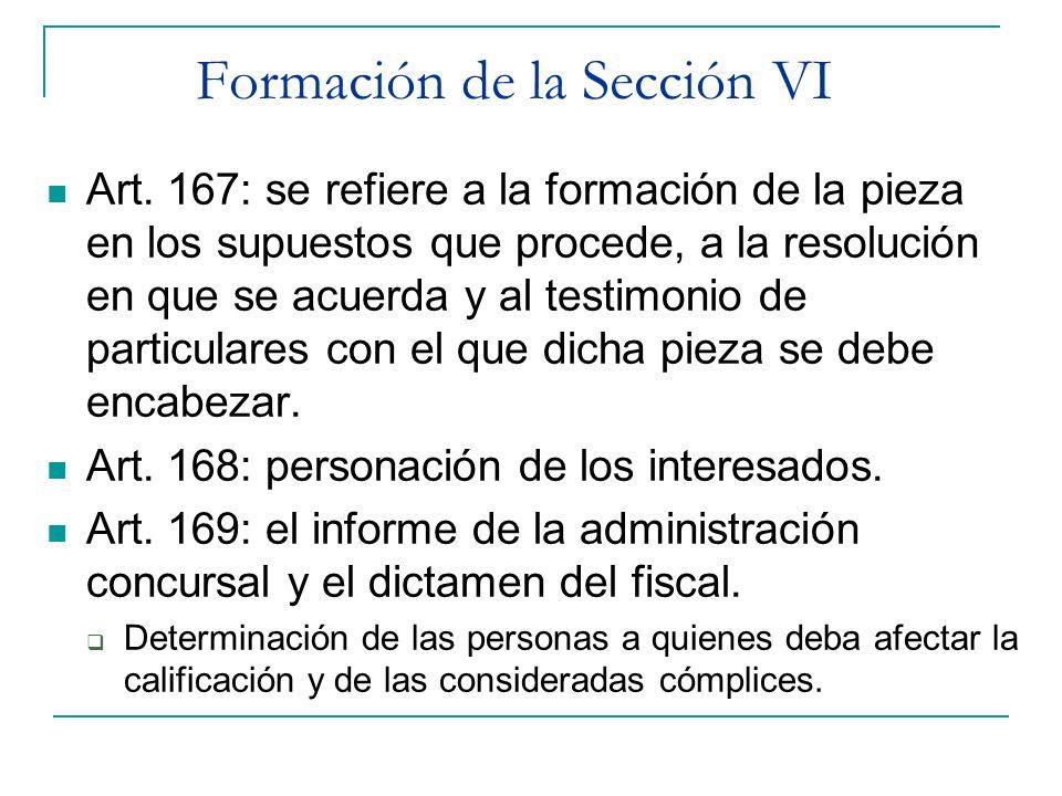 Formación de la Sección VI Art. 167: se refiere a la formación de la pieza en los supuestos que procede, a la resolución en que se acuerda y al testim