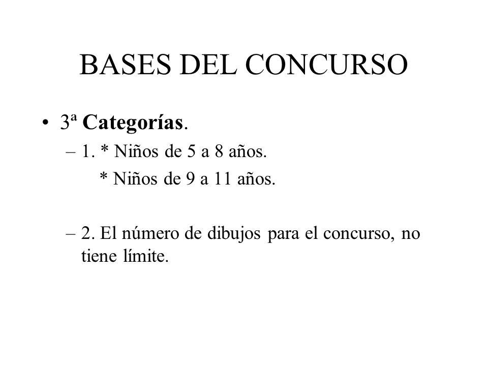 BASES DEL CONCURSO 3ª Categorías. –1. * Niños de 5 a 8 años. * Niños de 9 a 11 años. –2. El número de dibujos para el concurso, no tiene límite.