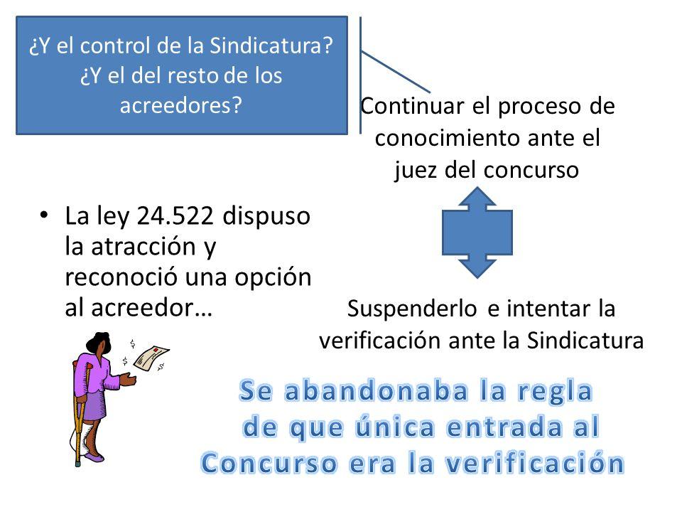 La ley 24.522 dispuso la atracción y reconoció una opción al acreedor… Continuar el proceso de conocimiento ante el juez del concurso Suspenderlo e in