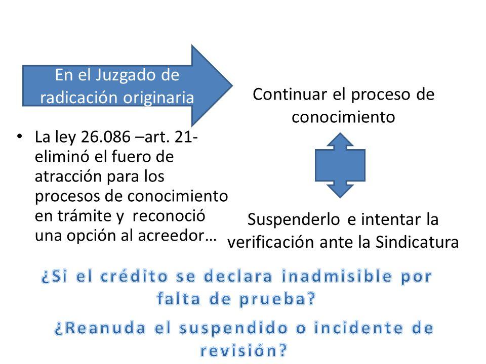 La ley 26.086 –art. 21- eliminó el fuero de atracción para los procesos de conocimiento en trámite y reconoció una opción al acreedor… Continuar el pr