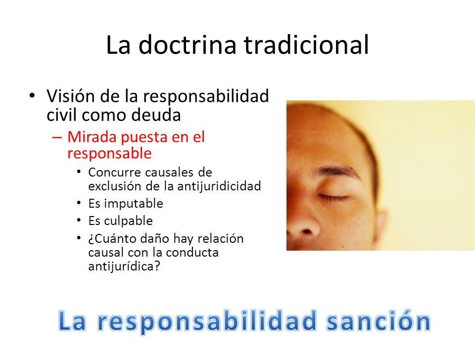 La doctrina tradicional Visión de la responsabilidad civil como deuda – Mirada puesta en el responsable Concurre causales de exclusión de la antijurid