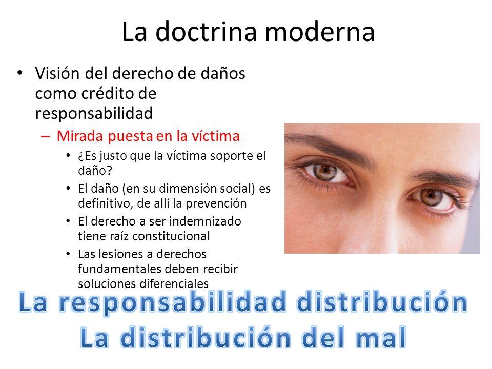 La doctrina moderna Visión del derecho de daños como crédito de responsabilidad – Mirada puesta en la víctima ¿Es justo que la víctima soporte el daño