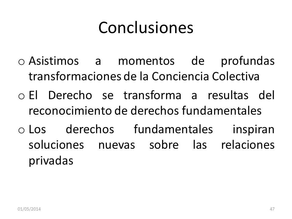 Conclusiones o Asistimos a momentos de profundas transformaciones de la Conciencia Colectiva o El Derecho se transforma a resultas del reconocimiento