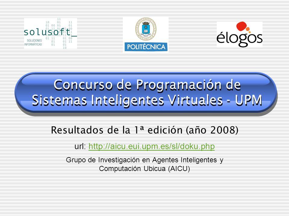 Concurso de Programación de Sistemas Inteligentes Virtuales - UPM Resultados de la 1ª edición (año 2008) url: http://aicu.eui.upm.es/sl/doku.phphttp:/