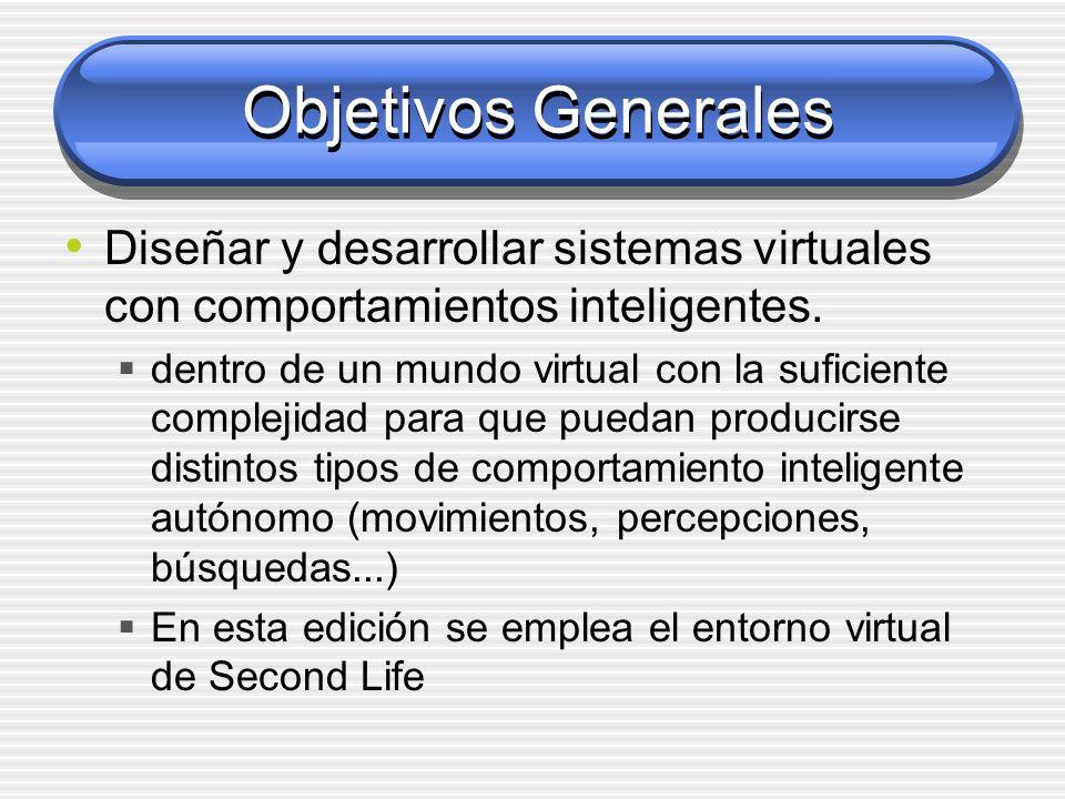 Objetivos Generales Diseñar y desarrollar sistemas virtuales con comportamientos inteligentes. dentro de un mundo virtual con la suficiente complejida