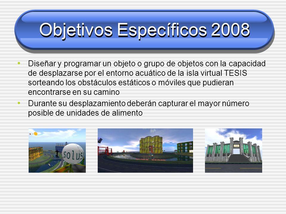 Objetivos Específicos 2008 Diseñar y programar un objeto o grupo de objetos con la capacidad de desplazarse por el entorno acuático de la isla virtual