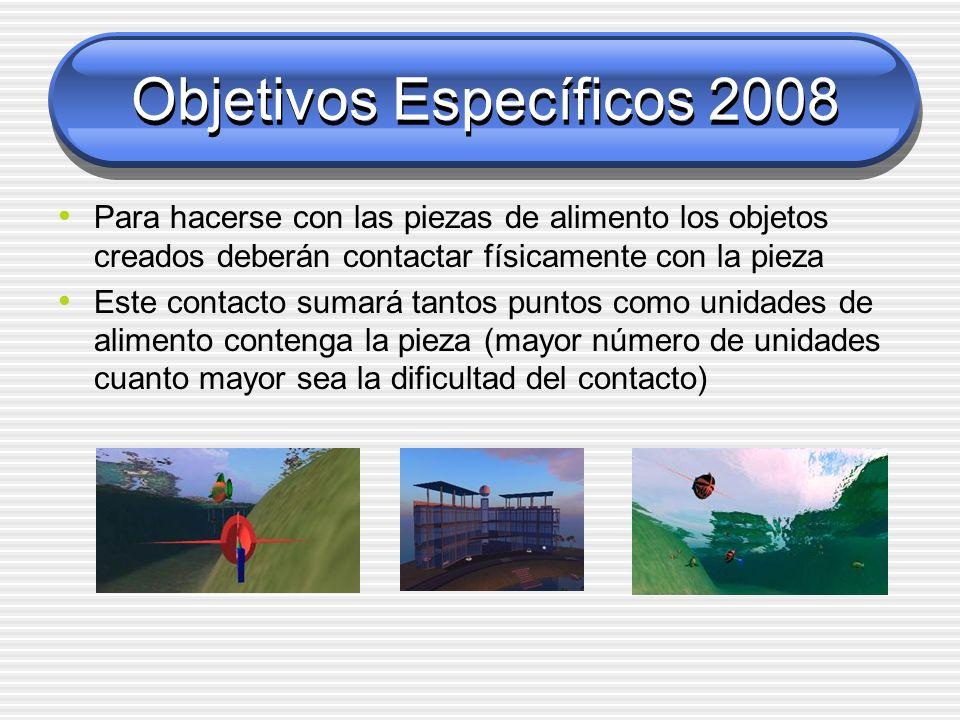 Objetivos Específicos 2008 Para hacerse con las piezas de alimento los objetos creados deberán contactar físicamente con la pieza Este contacto sumará