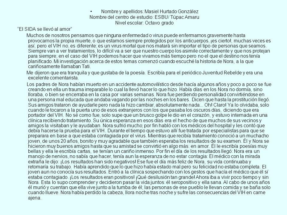 Premio categoría de adulto a Caridad Suárez Rodríguez, por el testimonio Cuento de una verdad.
