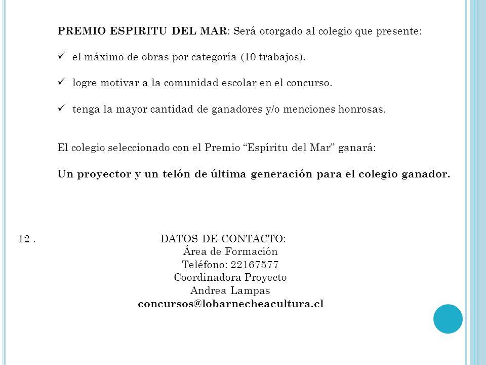 Categoría Segundo Ciclo: 1º Lugar: Cámara digital compacta y un curso de fotografía digital en la Corporación Cultural Lo Barnechea. Set de materiales