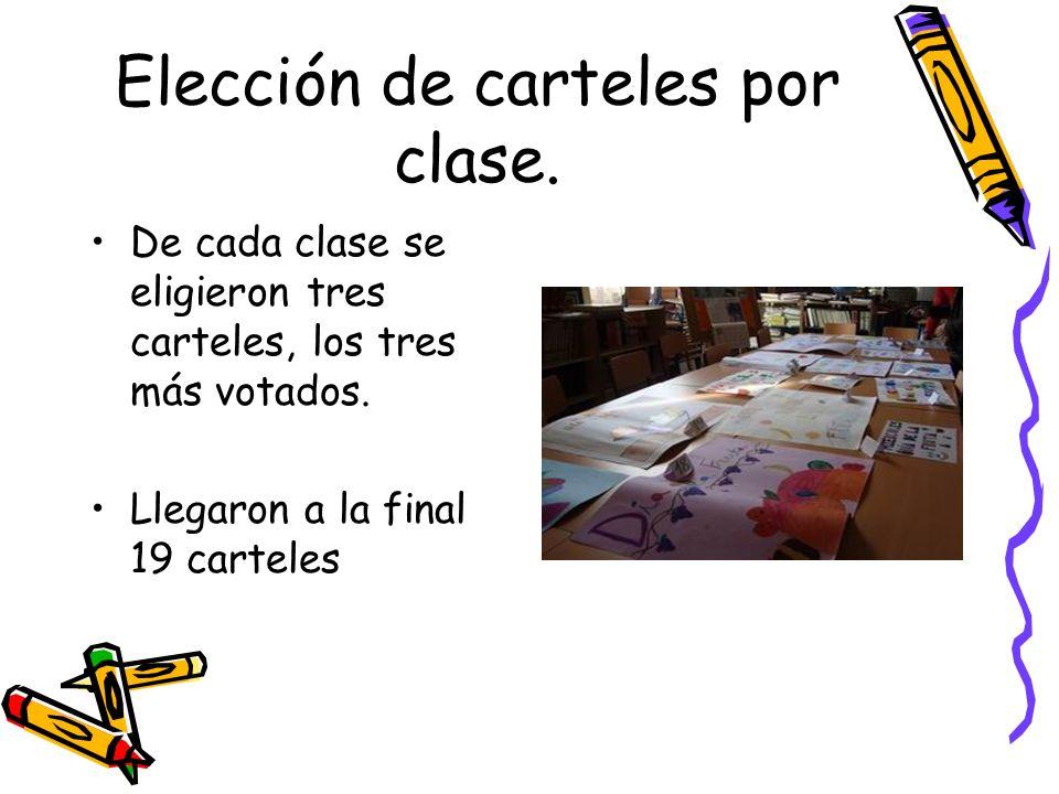 Elección de carteles por clase. De cada clase se eligieron tres carteles, los tres más votados. Llegaron a la final 19 carteles