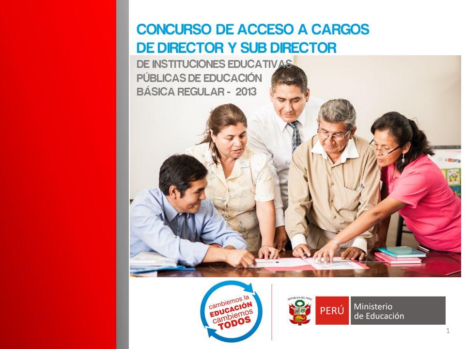 1 CONCURSO DE ACCESO A CARGOS DE DIRECTOR Y SUB DIRECTOR DE INSTITUCIONES EDUCATIVAS PÚBLICAS DE EDUCACIÓN BÁSICA REGULAR - 2013
