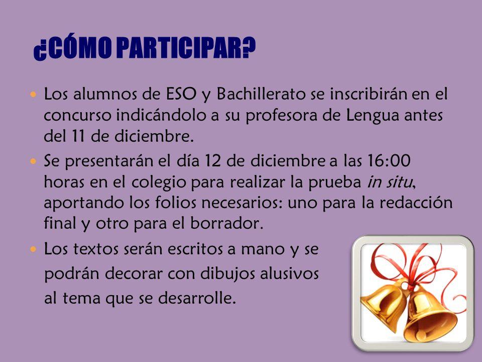 Los alumnos de ESO y Bachillerato se inscribirán en el concurso indicándolo a su profesora de Lengua antes del 11 de diciembre. Se presentarán el día