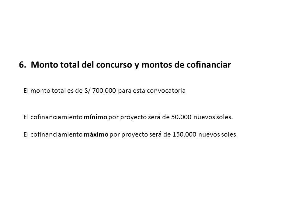 6. Monto total del concurso y montos de cofinanciar El monto total es de S/ 700.000 para esta convocatoria El cofinanciamiento mínimo por proyecto ser