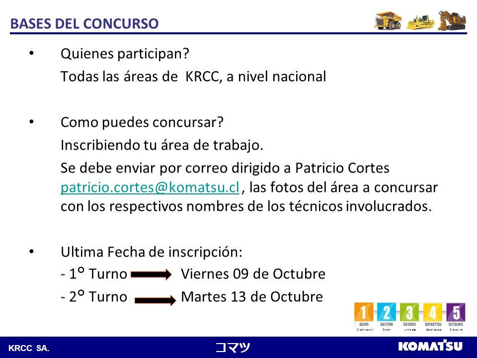 Komatsu Chile S.A. KRCC SA. BASES DEL CONCURSO Quienes participan? Todas las áreas de KRCC, a nivel nacional Como puedes concursar? Inscribiendo tu ár