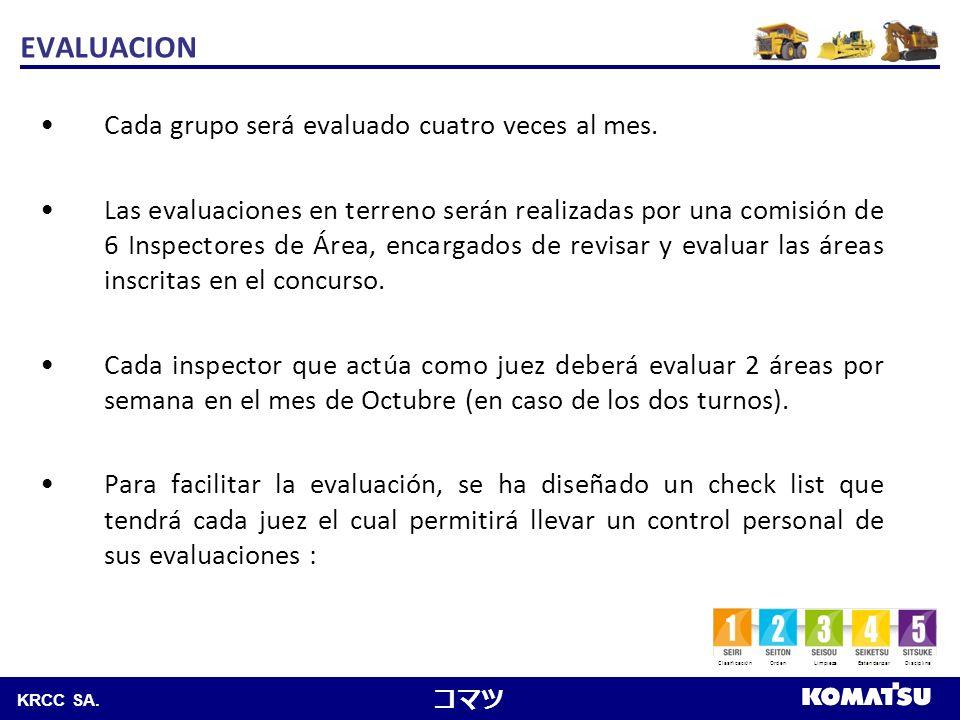 Komatsu Chile S.A. KRCC SA. Cada grupo será evaluado cuatro veces al mes. Las evaluaciones en terreno serán realizadas por una comisión de 6 Inspector