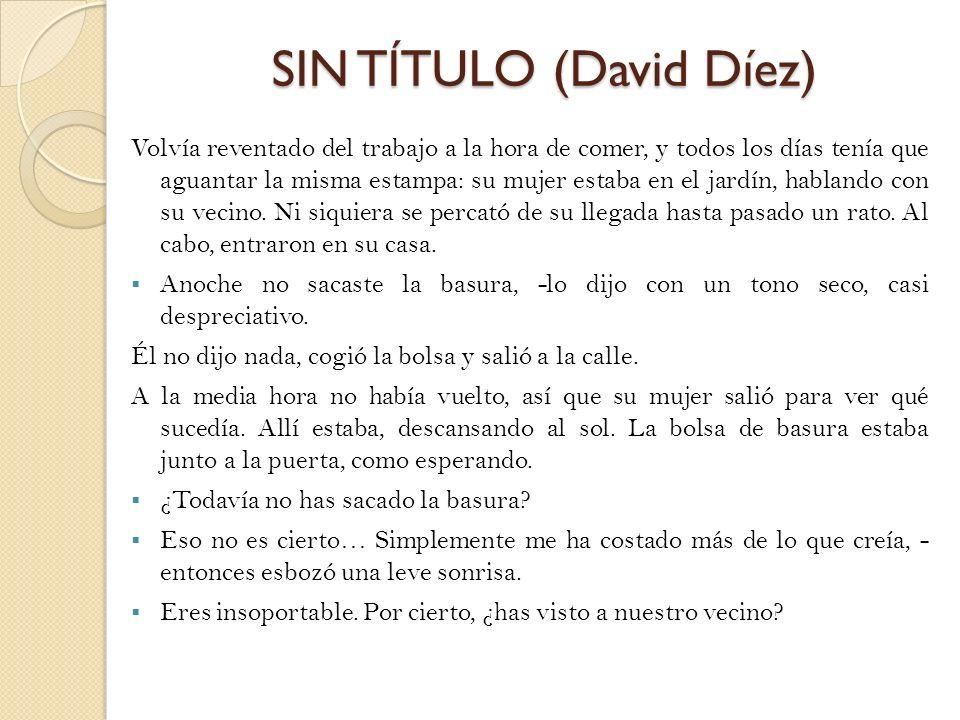 SIN TÍTULO (David Díez) Volvía reventado del trabajo a la hora de comer, y todos los días tenía que aguantar la misma estampa: su mujer estaba en el j