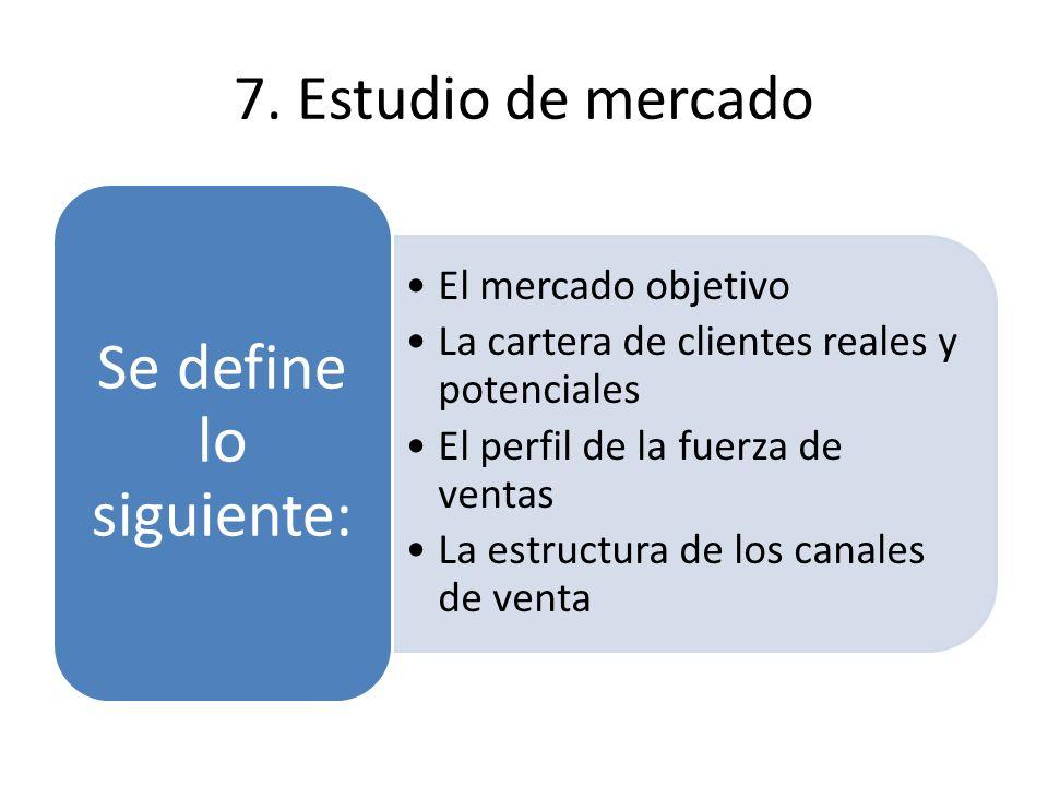 7. Estudio de mercado El mercado objetivoEl mercado objetivo La cartera de clientes reales y potencialesLa cartera de clientes reales y potenciales El