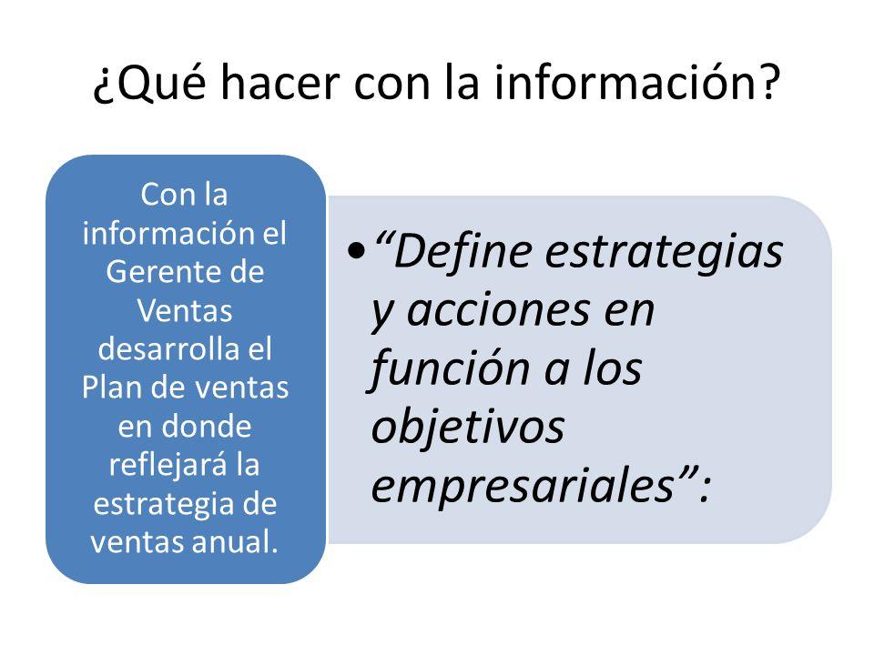 ¿Qué hacer con la información? Define estrategias y acciones en función a los objetivos empresariales:Define estrategias y acciones en función a los o