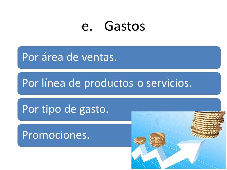 e.Gastos Por área de ventas. Por línea de productos o servicios. Por tipo de gasto. Promociones.