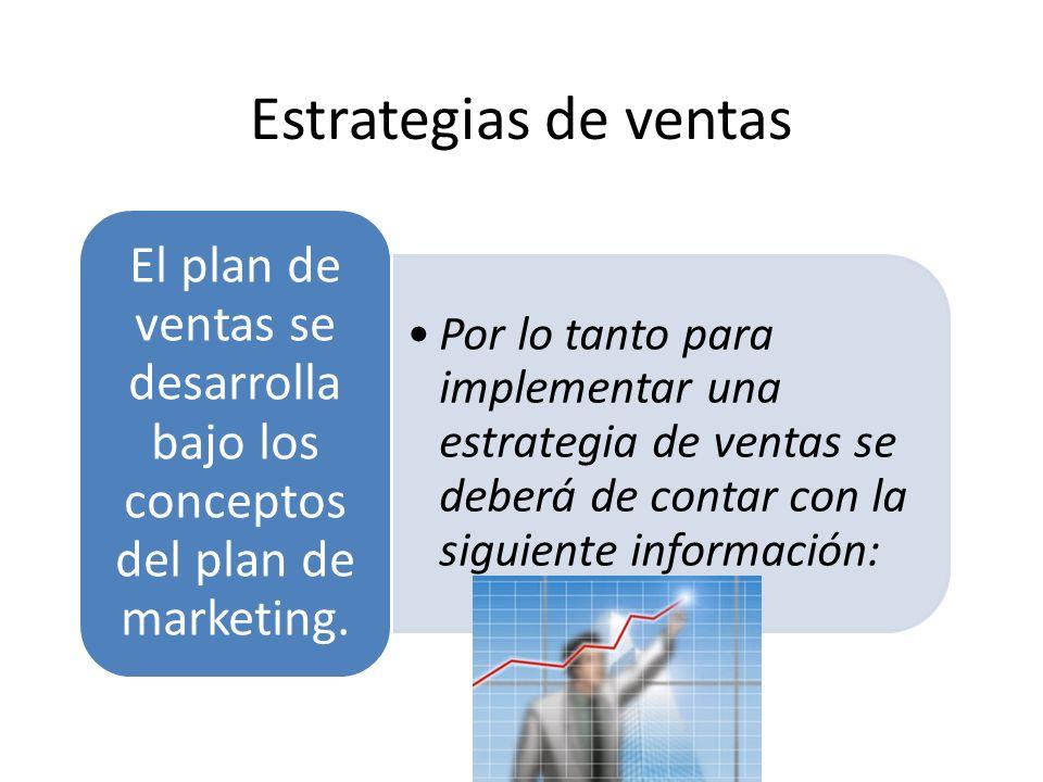 Estrategias de ventas Por lo tanto para implementar una estrategia de ventas se deberá de contar con la siguiente información:Por lo tanto para implem