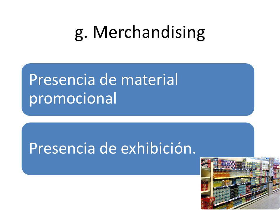 g. Merchandising Presencia de material promocional Presencia de exhibición.