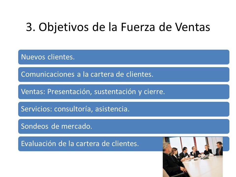 3. Objetivos de la Fuerza de Ventas Nuevos clientes. Comunicaciones a la cartera de clientes. Ventas: Presentación, sustentación y cierre. Servicios: