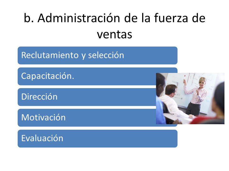 b. Administración de la fuerza de ventas Reclutamiento y selección Capacitación. Dirección Motivación Evaluación