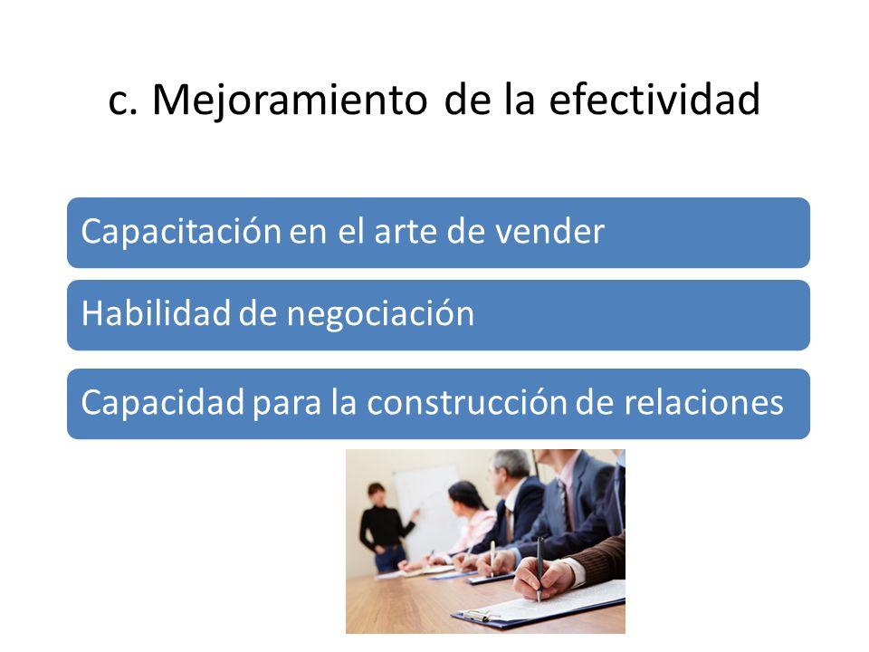c. Mejoramiento de la efectividad Capacitación en el arte de vender Habilidad de negociación Capacidad para la construcción de relaciones